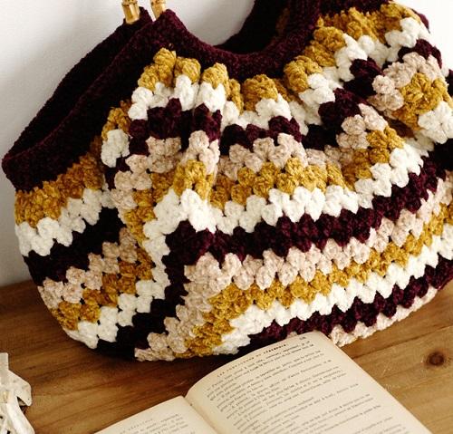 無料編み図かぎ針編みモールヤーン毛糸バッグ