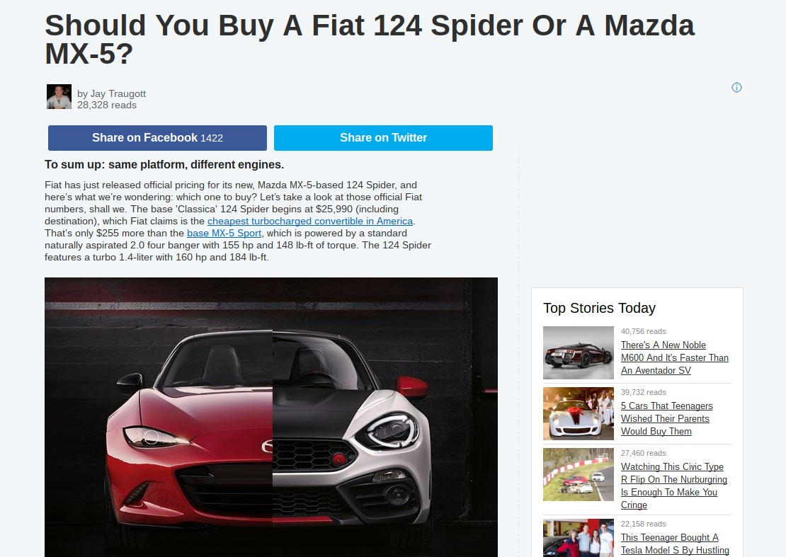 Should You Buy A Fiat 124 Spider Or A Mazda MX 5
