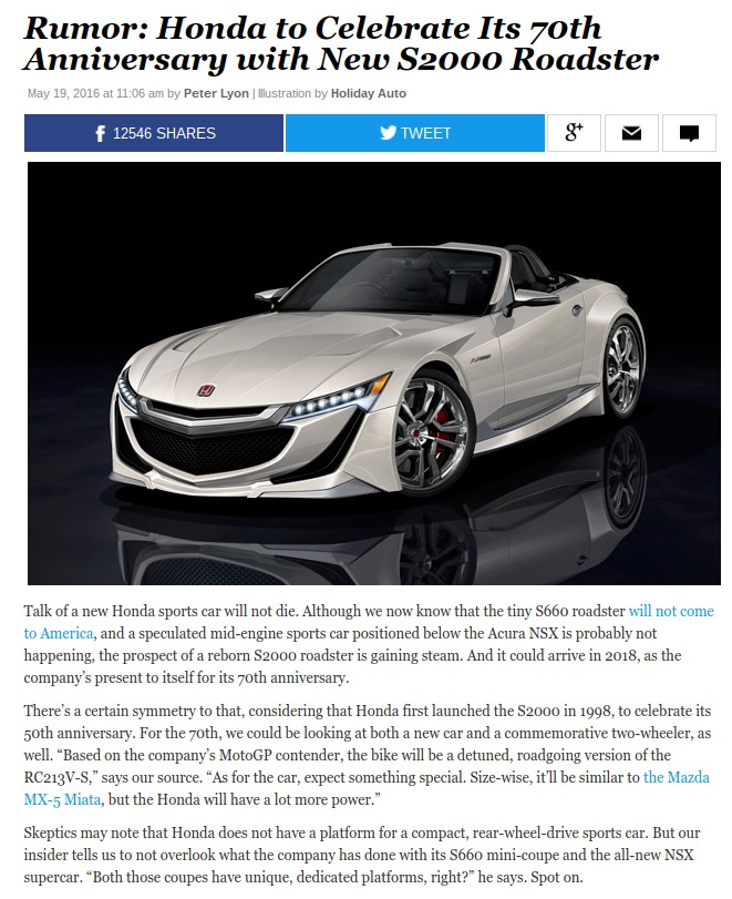 Rumor New Honda S2000 Roadster Could Arrive for 2018 – News – Car and Driver Car and Driver Blog