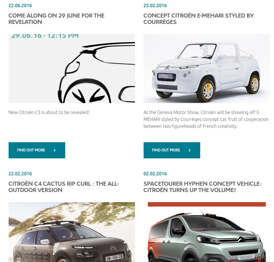 the International website of Citroën