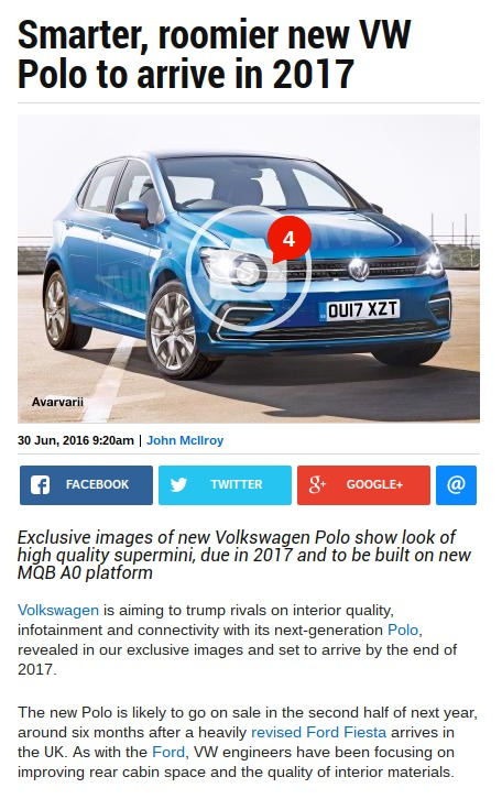 Smarter roomier new VW Polo to arrive in 2017 Auto Express
