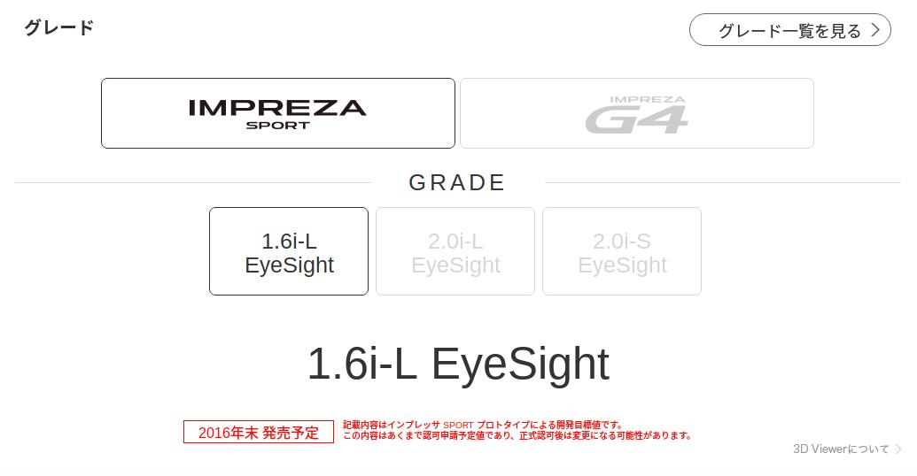 グレード詳細 新型インプレッサ SUBARU