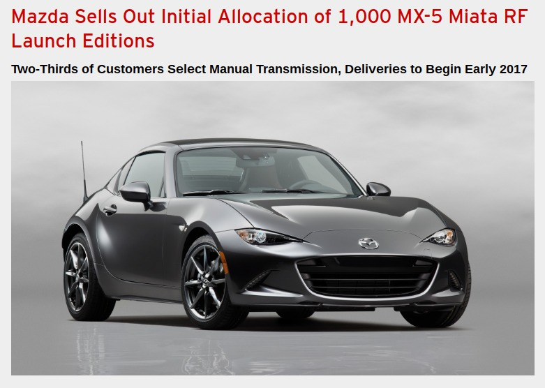Mazda Sells Out Initial Allocation of 1 000 MX 5 Miata RF Launch Editions Inside Mazda