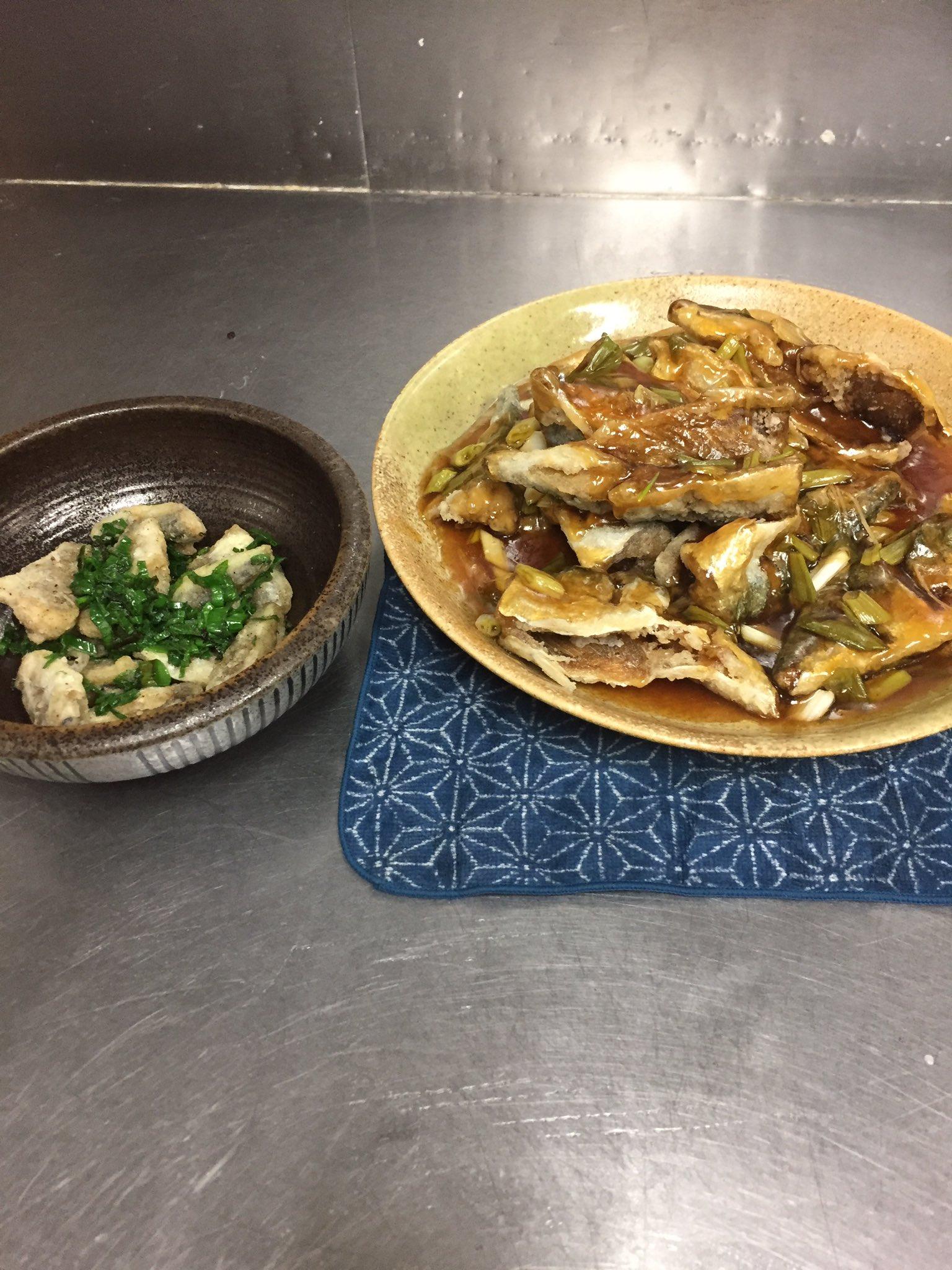 小サバのから揚げ甘酢あんかけとイシモチとアジの山椒揚げ