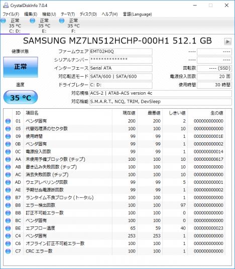 OMEN by HP 870-000jp_CrystalDiskInfo_512GB SSD