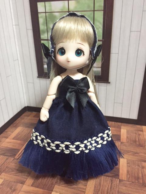 チューブトップドレス 紺A