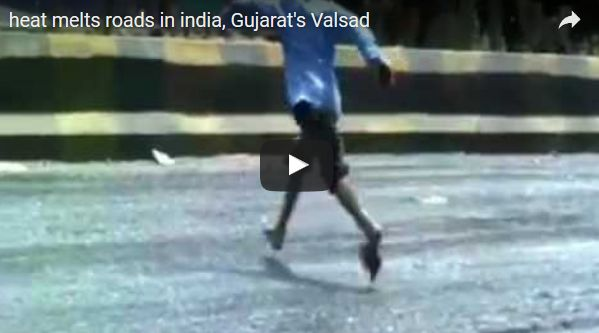 【インド】猛暑により、道路のアスファルトが暑さで溶けるまでに…歩くと靴に「くっつく」