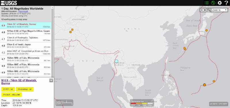 ミャンマーでM6.9の地震発生…震源深さは約135km