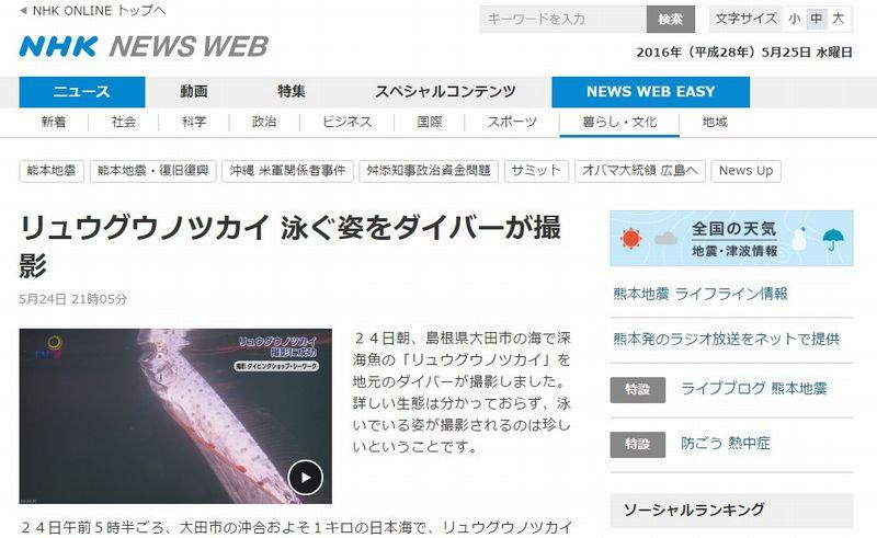 【深海魚】島根県の沖合でリュウグウノツカイが定置網にかかっているのを発見!撮影に成功