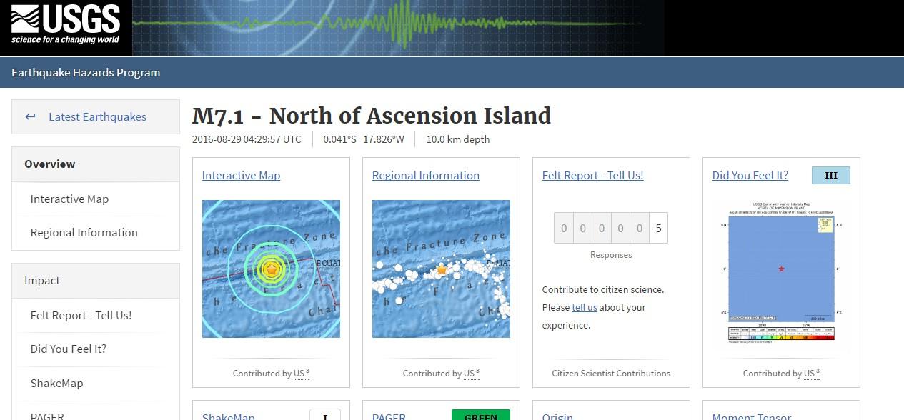 【大西洋】アセンション島近海で「M7.1」の地震発生