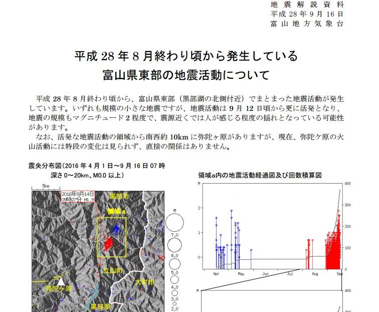 富山県東部で小規模地震が頻発!8月以降「300回」観測…今月12日頃からは更に活発化、気象台が注意呼びかけ