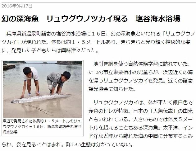 兵庫県の塩谷海水浴場に「リュウグウノツカイ」が出現!同県佐用町では季節外れの「ヒマワリ」が満開…北海道でも「サクラ」が開花