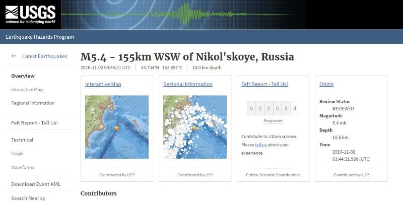 【ロシア】カムチャツカ半島で「M5.6」の地震発生