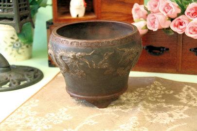 【中国宜興】伸龍植木鉢・盆栽鉢(まだら緑) 約高さ14cm 直径17cm