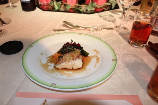 鯛の葱生姜蒸し シーフードソース