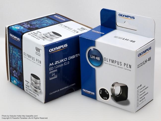M.ZUIKO DIGITAL ED 12mm F2.0とLH-48の箱