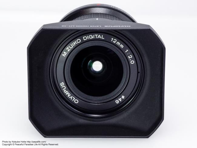 M.ZUIKO DIGITAL ED 12mm F2.0にLH-48装着3