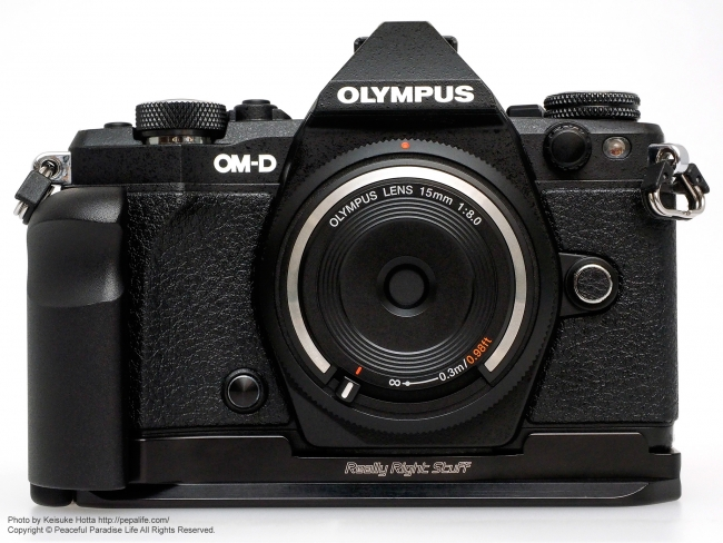 RRS (Really Right Stuff) BOEM52: Plate for OM-D E-M5 Mark II 正面から