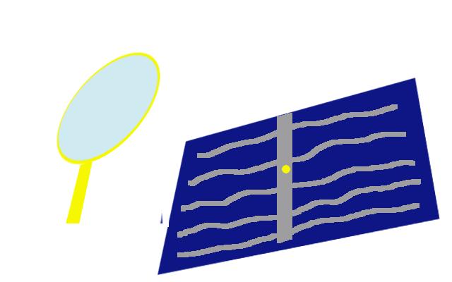 太陽電池の、銀色の太い電極のハンダを溶かす