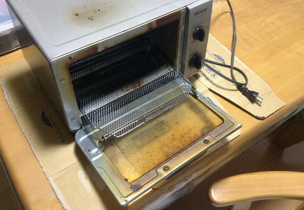 オーブントースター 分解、洗浄した