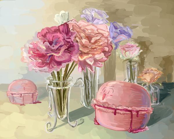 マカロンBoriと花